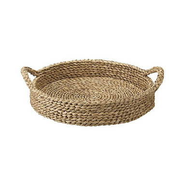 41b87599931f Rustic Home Dinner Straw Basket Wicker Food Tray With Handle ...