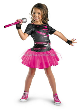 Children Stage Dance Princes Costume Kids Barbie Rocker Costume Qbc
