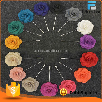 Fabric material fashion long needle pin suit lapel pin flower men