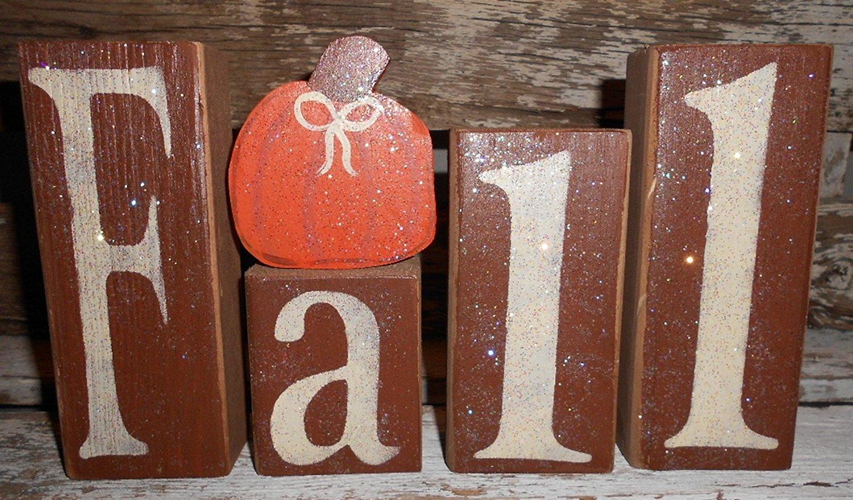 Fall Wood Glitter Brown Blocks With Orange Pumpkin Fall Decoration Personalized Blocks