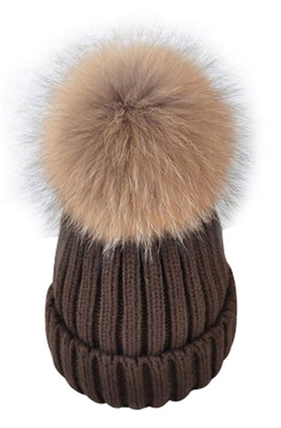 Adult Lady Natural Real Fox Fur Pom Poms Beanie Hat Cap Ball Warm Winter Knitted Hat