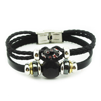 Black Gl Beaded Leather Wrap Around Bracelets With Stainless Steel Buckles