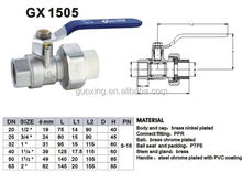 brass ppr nickel plated ball valve with long steel handle,ppr flexible brass ball valve