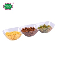 Food grade unique catering plastic 3 part divided dish with customized design