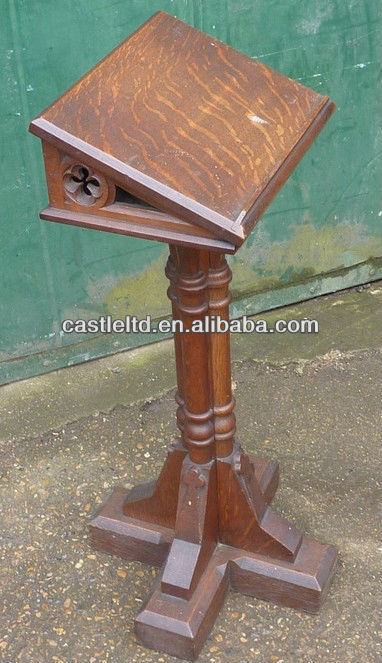 Solid wood church small reading lectern in oak finished/classroom children pedestal wooden gothic lectern/Theater lectern