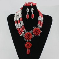 Queency Bridal Necklace Big Flower Jewelry Set African Wedding Coral Beads Set for Nigerian Bride