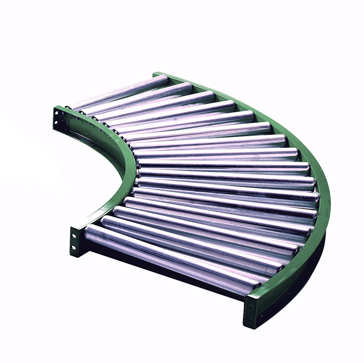 """Ashland Conveyor A10F90KG03B16 Painted Galvanized Steel Roller Conveyor with 3.5"""" Channel, 90 Degree Curve, 3"""" Axle Centers, 16"""" Between Frame, 1.9"""" O.D x 16 Gauge, 47.375"""" Length, 18.75"""" Width, Ashland Green"""