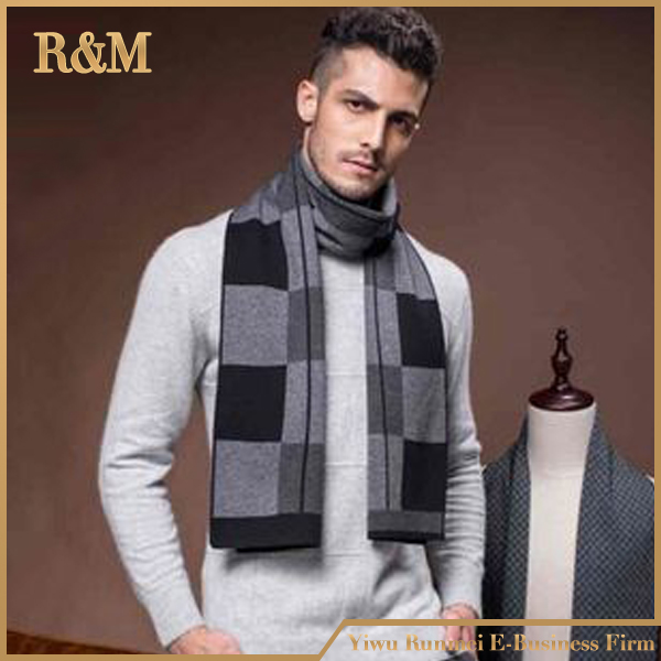 poly acrylic knitted hood wool scarf mens designer scarf