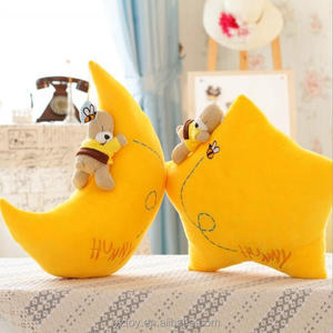 1pcs 40cm cute bear kids toys Cartoon hold pillow cushion, Yellow Star plush toys moon plush with mini Teddy bear