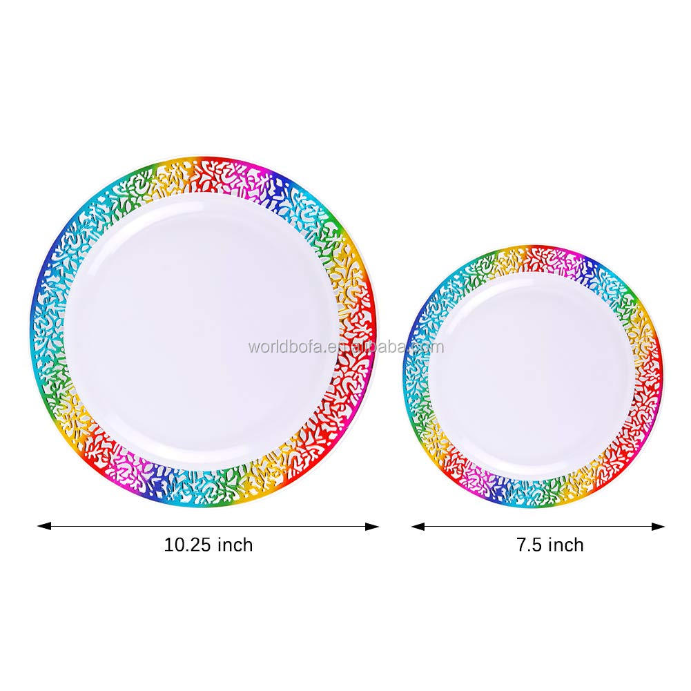 Disposable Lace Rim Rainbow Plastic Plates for Wedding