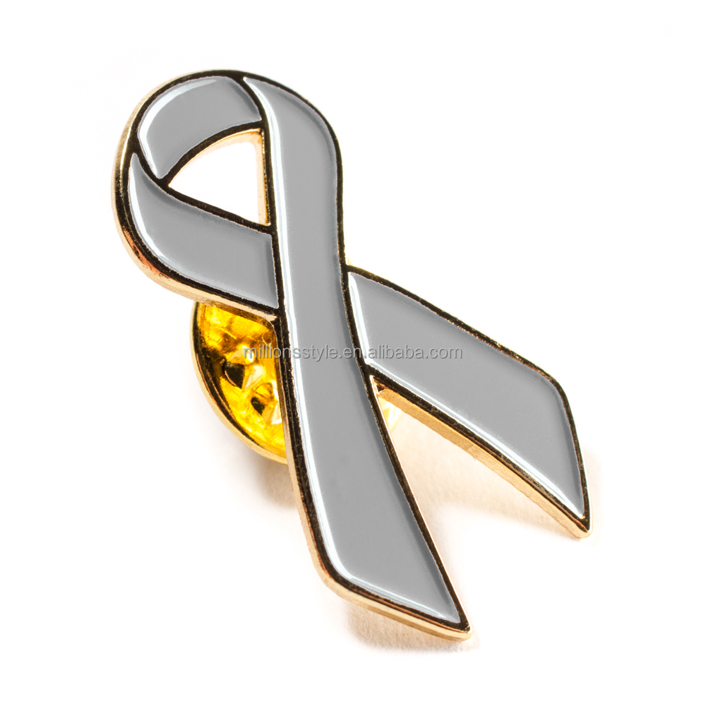 Wholesale cancer awareness enamel lapel pins for souvenir