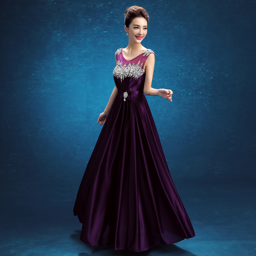 2016 Latest Long Evening Dresses With Beads V Back Elegant