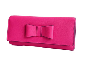 Bow Tie Leather Tri_Fold Long Card Holder Wallet Clutch Bag