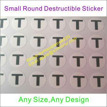 Factory Provide Ultra Destructible Vinyl Label Small Round
