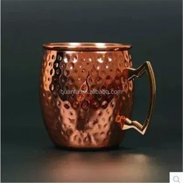 2016 hot mould Hammered Moscow Mule 100 % 18oz Solid Pure Copper Unlined Mug Cup