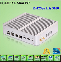 Broadwell TV box Fanless Mini PC Intel Core i5 4258u Windows10 i7 Mini-ITX Desktop Computer HD5100 Book sized PC Free shipping