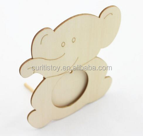 Child 's creative handmade Diy laser Elephant fish animal wood material antique photo frame unique wooden photo frame