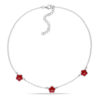 Lovely sterling silver 925 red flower children charms bracelet wholesale
