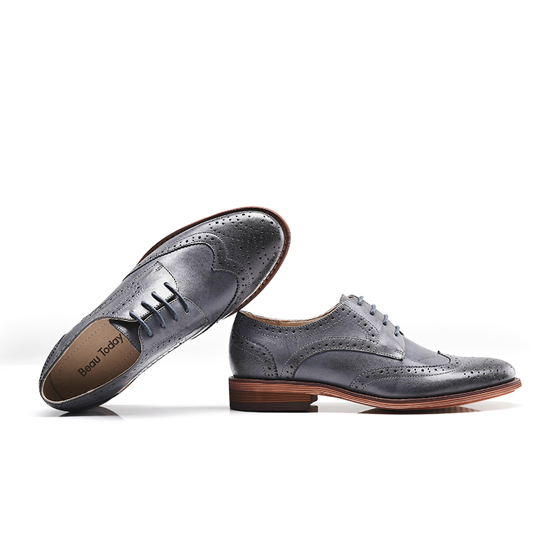 Wholesale Custom Flat 21024 Leather Women Handmade Toecap Sheepskin Wingtip Brogues Shoes Shoes xnq4gAHwf