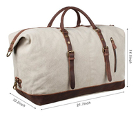 Oversized Canvas Leather Trim Travel Tote Duffel Handbag Weekend Bag