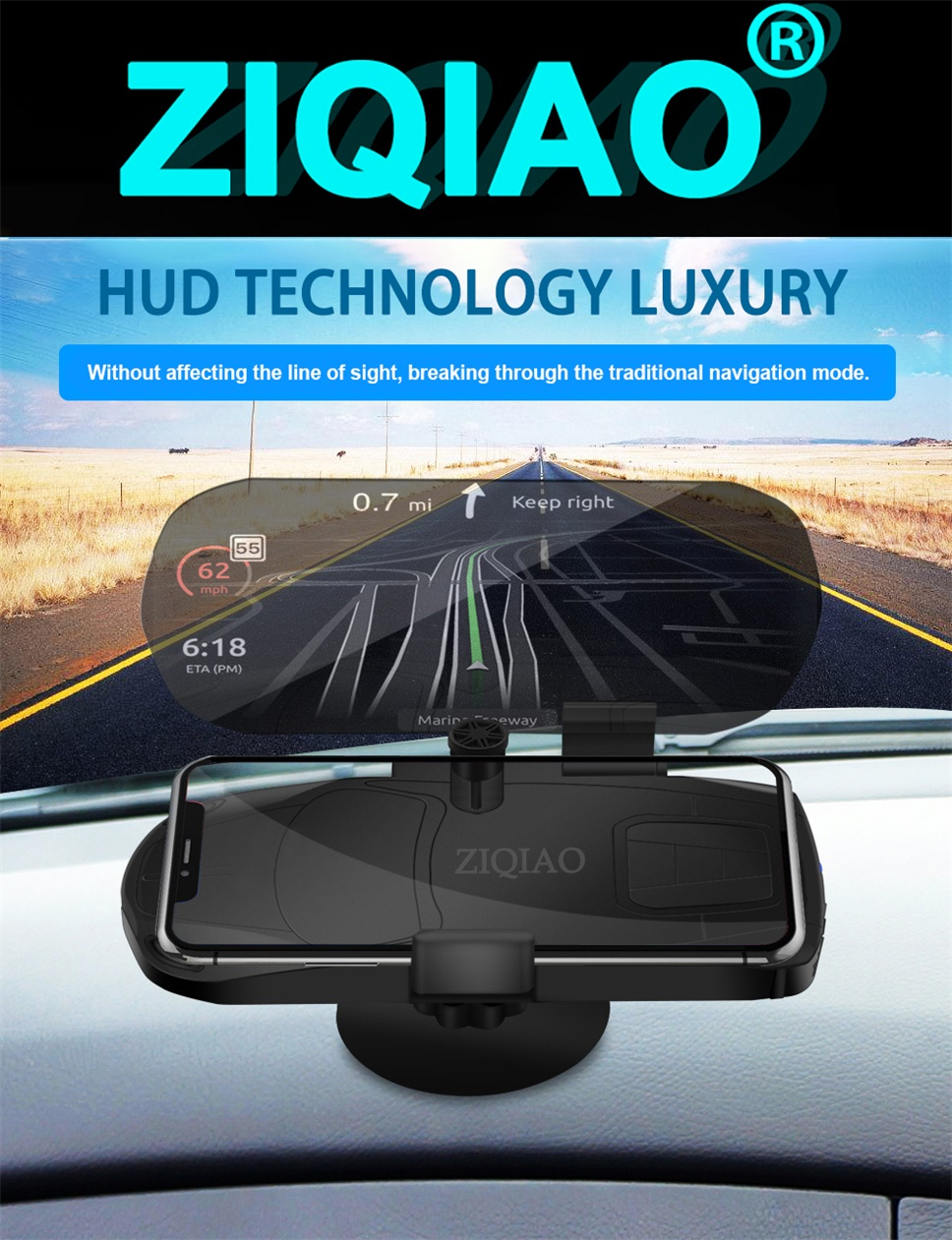 9f97854f0ca ZIQIAO CZN-P02A Universal Mobile Phone Car Holder Projector HUD Head ...