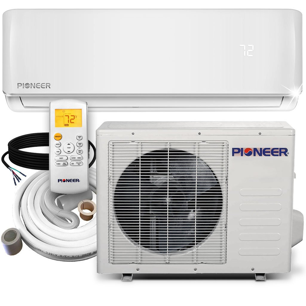PIONEER Air Conditioner Inverter+ Ductless Wall Mount Mini Split System Air Conditioner & Heat Pump Full Set, 18000 BTU 230V