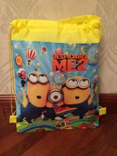 2015 minion backpack gmy school non-woven string shoe bag for boys and girls kids birthday gifts all match