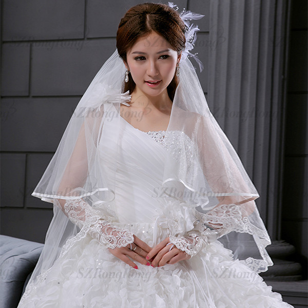 BV1040 Wedding Accessories Beautiful Short Soft Tulle Double Layers Veils White or Ivory Muslim Bridal Veils