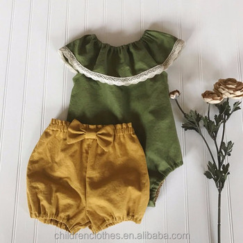 Top 100 clothes for babies 2018new arrivals army green summer girl romper