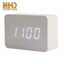 KH-0142 Time Temperature Date Display Desktop LED Charge Operated Grey Wooden Digital Alarm Clock