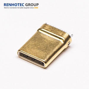 Gold Surface PCB Mount M Type C Connector for DIP