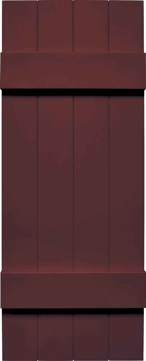 """Mid America VJB&B1495BX Joint Board & Batten Four Board Vinyl Shutter,, 95"""" x 14"""",, Bordeaux"""