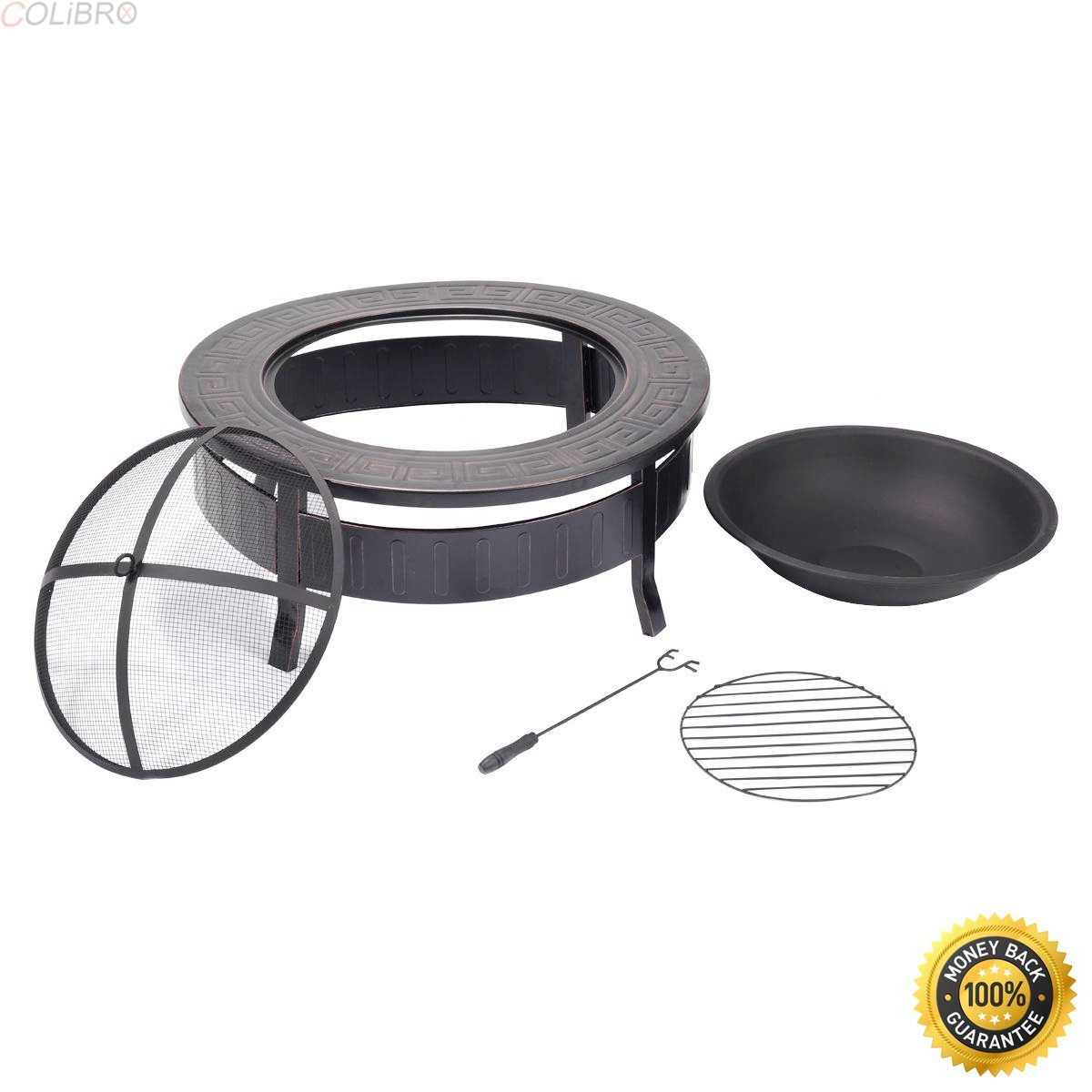 Get Quotations Colibrox 32 Round Metal Firepit Patio Garden Stove Fire Pit Outdoor Brazier With