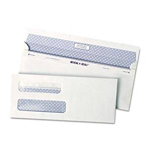 """Quality Park - Reveal-N-Seal Double Window Check Envelope Self-Adhesive White 500/Box """"Product Category: Envelopes Mailers & Shipping Supplies/Envelopes"""""""