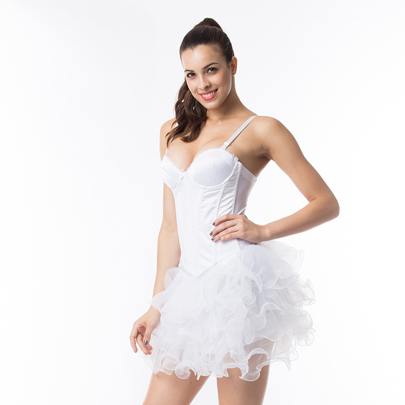 5d05fd861 White Wedding Push Up Bridal Bustier Cotton Gothic Corset Fantasy Women  Sexy Lingerie