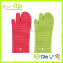 Longer 34cm Ticker 230G 3 Fingers Kitchen Silicone Oven Mitt, BBQ Gloves