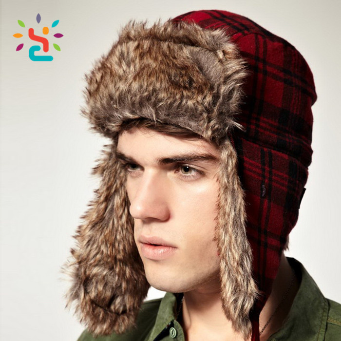Custom trapper hats Russian rabbit fur hat wholesale jacquard gorros rusos  ushanka wholesale 5eeec60536c