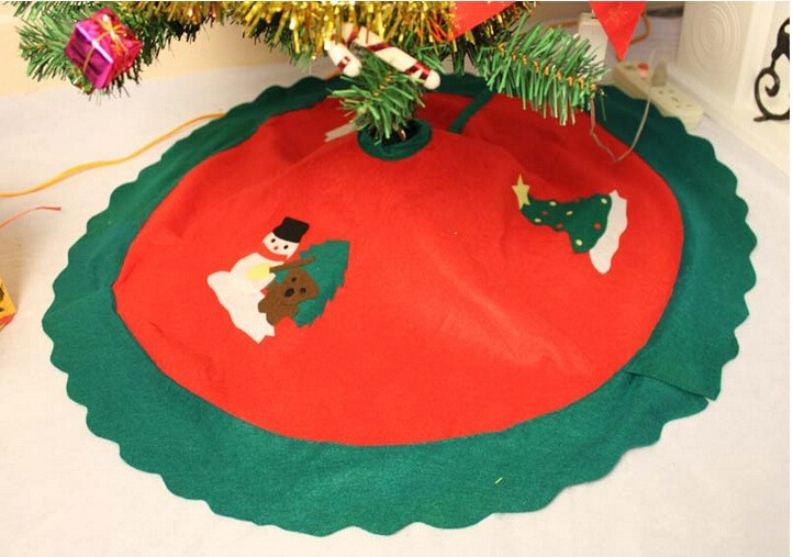 new design waterproof personalised christmas tree skirt with ruffle burlap