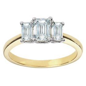 3 Stone Yellow Gold Emerald Cut 1.5 Ct Diamond Ring