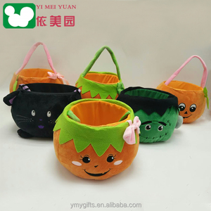 custom accessories halloween plush easter home decorative basket with pumpkin soft plush Storage Baskets