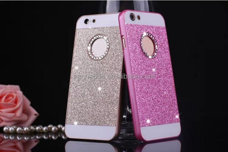 Glitter with diamond hot new pc water proof mobile phone case for iphone 6 plus
