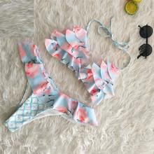Женская одежда для плавания, сексуальный комплект бикини с бретелькой через шею, без рукавов, на шнуровке, комплект бикини с цветочным рисун...(Китай)