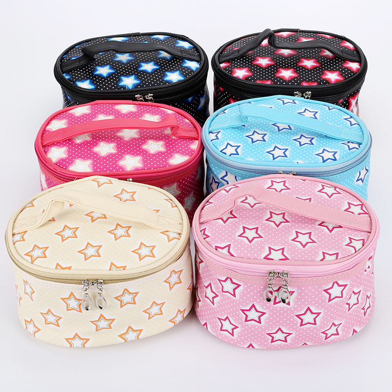 Polka Dot and Star Printed Waterproof Barrel Shaped PU Cosmetic Makeup Bag with Mirror