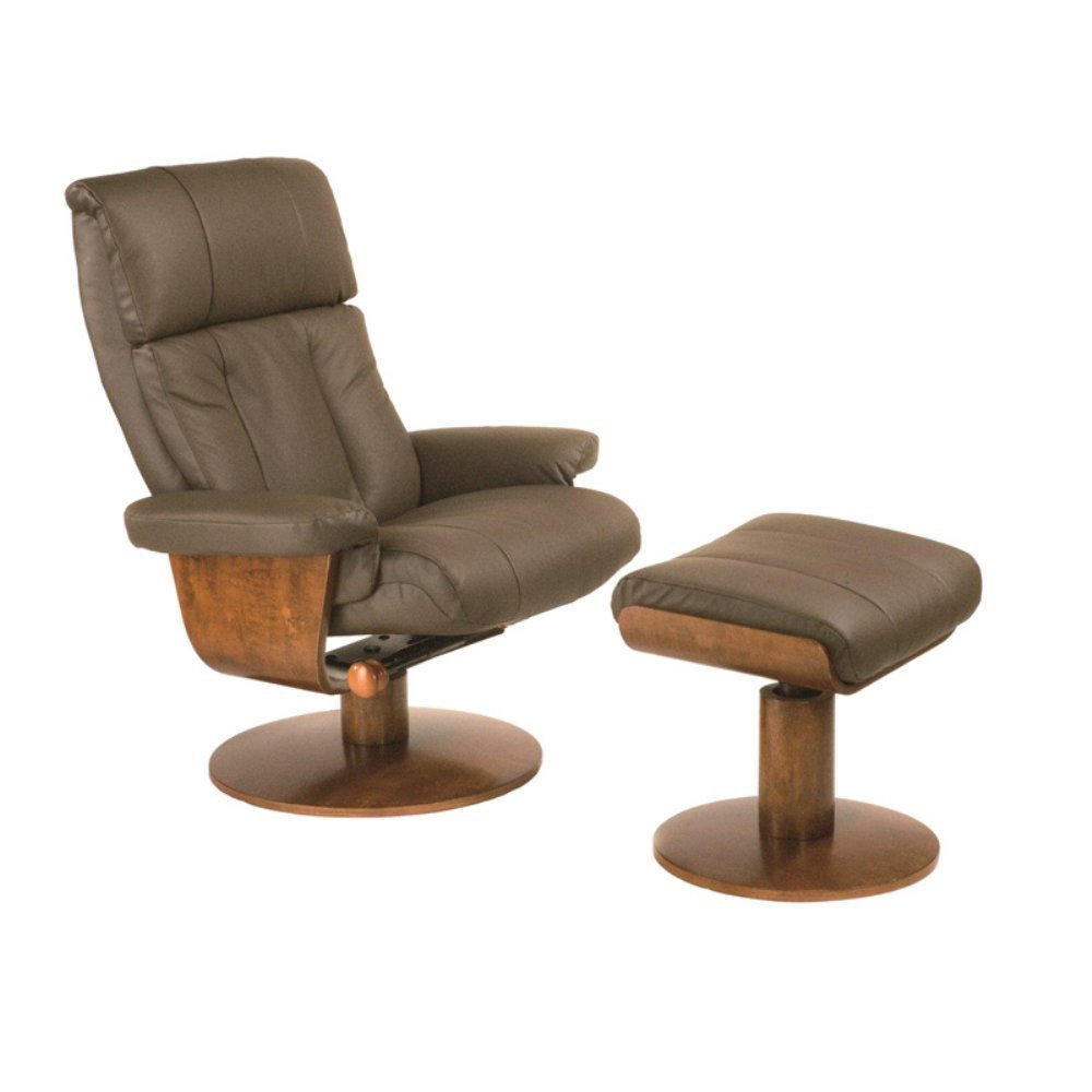 MAC Motion Oslo Collection Massaging Air Lumbar Top Grain Leather Swivel Recliner with Ottoman -