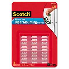 * Mounting Squares, Precut, Removable, 11/16 x 11/16, Clear, 35/Pack