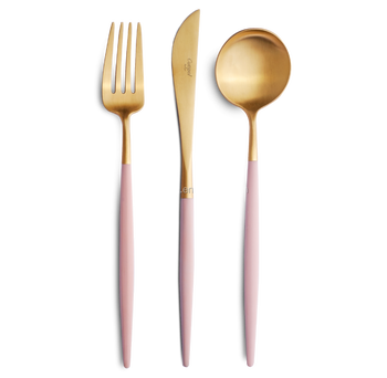Pink Matte Gold 24 Pieces Flatware Set