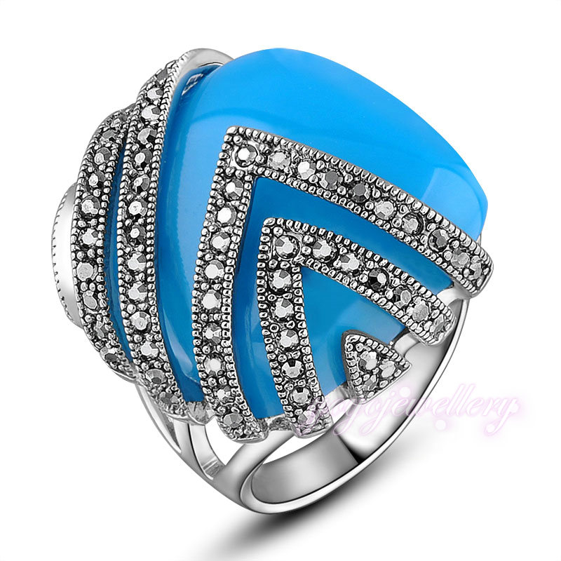 2016 Blue Rectangle Resin Ring Cluster Marcasite Crystal Women s Gift R1019