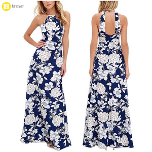 Womens Summer Maxi Dresses Ladies Boho Dress Sleeveless Blue Halter Neck Floral Print Long Dress