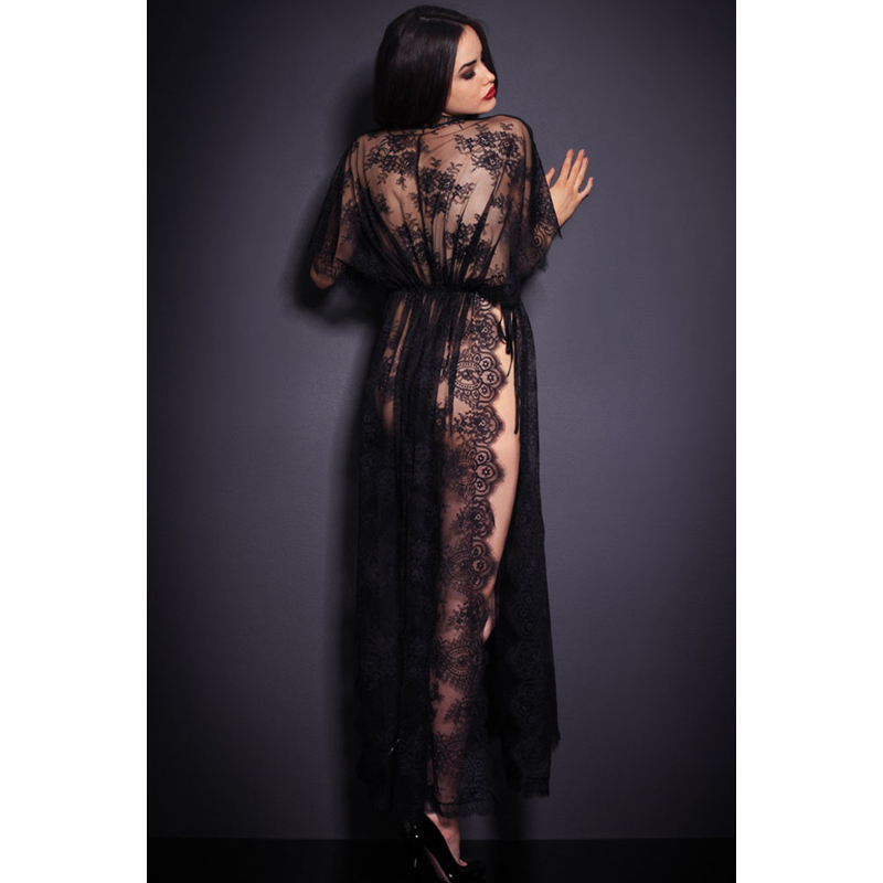 Fashion Women Sexy Black Sheer Lace Kaftan Robe with Thong Lingerie