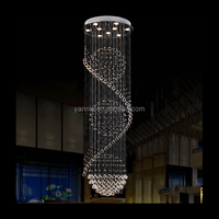 Modern Luxury Clear lustre Rain Chain Drop K9 LED Wireless Remote Control Crystal Chandelier Lighting